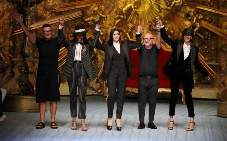 Stefano Gabbana, Naomi Campbell, Monica Bellucci, Domenico Dolce and Marpessa Hennink at the duo's spring/summer 2019 menswear show CREDIT: GETTY IMAGES EUROPE